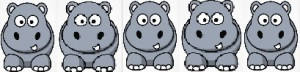 5 hippos